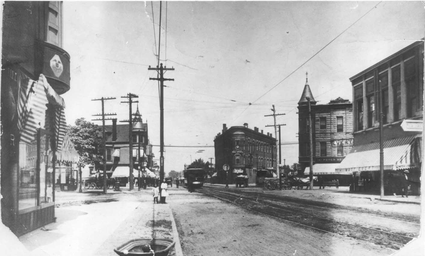 Intersection of Lincoln, Damen, and Irving Park ca.1910 (Sulzer Regional Library, Historical Room, C